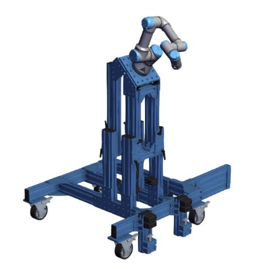Mobile stand for UR3 with floor anchor and pallet positioning