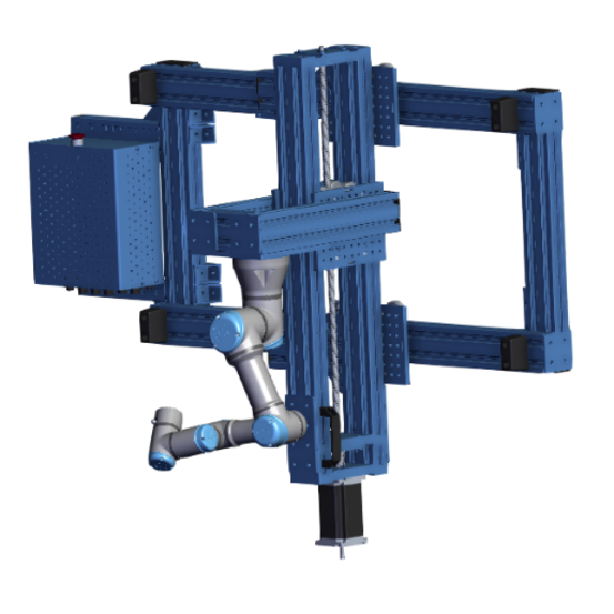 Small automated 2-axis UR3 range extender